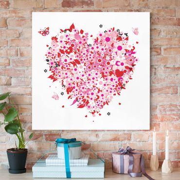Leinwandbild - Floral Retro Heart - Quadrat 1:1