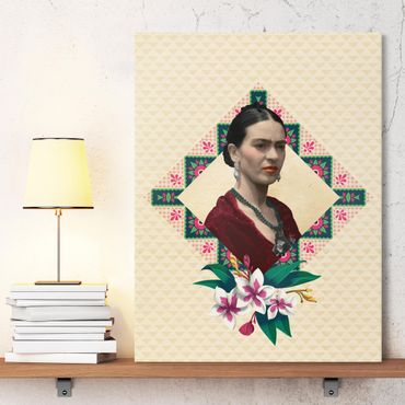 Leinwandbild - Frida Kahlo - Blumen und Geometrie - Hochformat 3:4