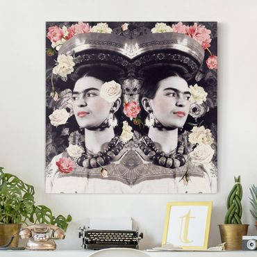 Leinwandbild - Frida Kahlo - Blumenflut - Quadrat 1:1