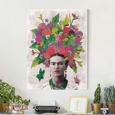 Leinwandbild - Frida Kahlo - Blumenportrait - Hochformat 3:4