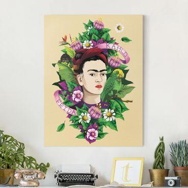 Leinwandbild - Frida Kahlo - Frida, Äffchen und Papagei - Hochformat 3:4