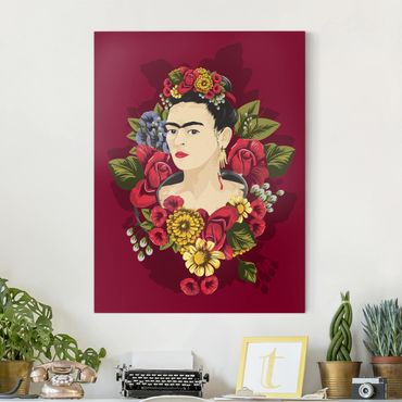 Leinwandbild - Frida Kahlo - Rosen - Hochformat 3:4