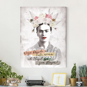 Leinwandbild - Frida Kahlo - Zitat - Hochformat 3:4