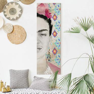 Leinwandbild - Frida mit rosa Blüten I - Panorama Hochformat 3:1