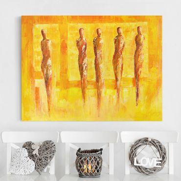 Leinwandbild - Fünf Figuren in Gelb - Querformat 4:3