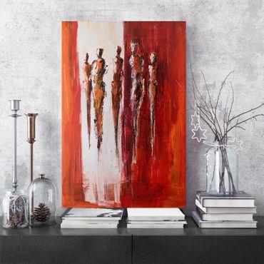 Leinwandbild - Fünf Figuren in Rot 01 - Hochformat 2:3