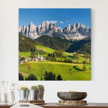 Leinwandbild - Geislerspitzen in Südtirol - Quadrat 1:1