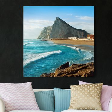 Leinwandbild - Gibraltar am Meer - Quadrat 1:1