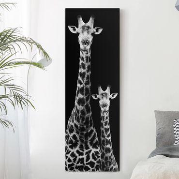 Leinwandbild - Giraffen Duo schwarz-weiß - Panoramabild Hoch