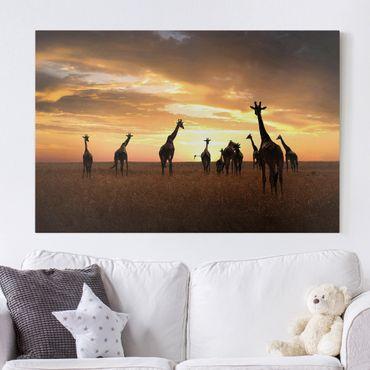 Leinwandbild - Giraffen Familie - Quer 3:2