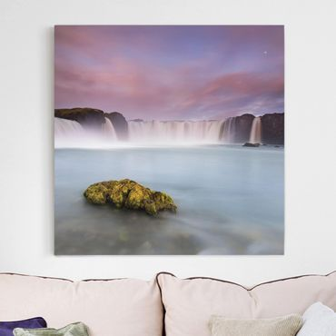 Leinwandbild - Goðafoss und der Mond - Quadrat 1:1