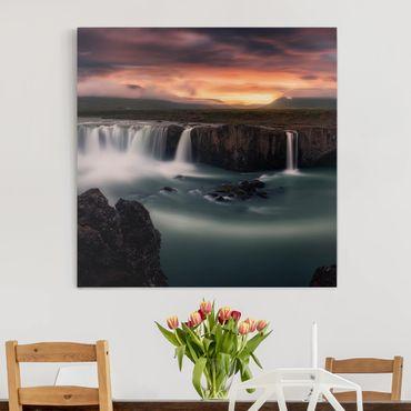 Leinwandbild - Goðafoss Wasserfall in Island - Quadrat 1:1