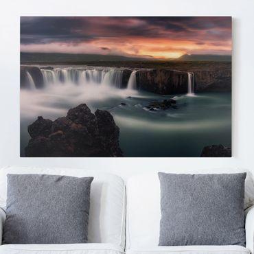 Leinwandbild - Goðafoss Wasserfall in Island - Quer 3:2
