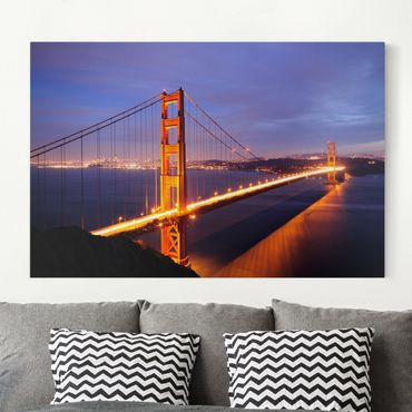 Leinwandbild - Golden Gate Bridge bei Nacht - Quer 3:2