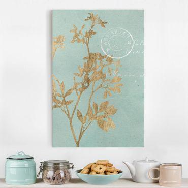 Leinwandbild - Goldene Blätter auf Turquoise I - Hochformat 3:2