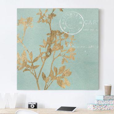 Leinwandbild - Goldene Blätter auf Turquoise I - Quadrat 1:1