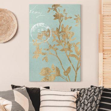 Leinwandbild - Goldene Blätter auf Turquoise II - Hochformat 3:2