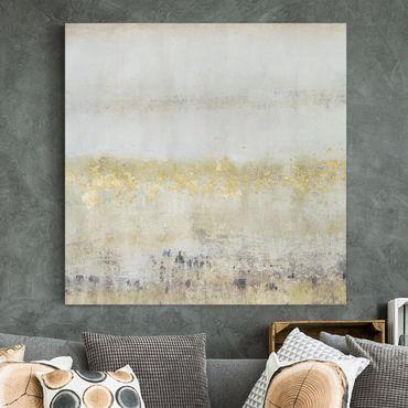 Leinwandbild - Goldene Farbfelder I - Quadrat 1:1