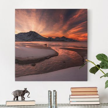 Leinwandbild - Goldener Sonnenuntergang - Quadrat 1:1