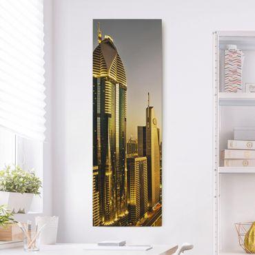 Leinwandbild - Goldenes Dubai - Panorama Hoch