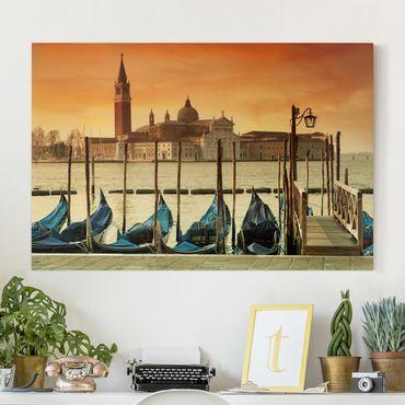 Leinwandbild - Gondeln in Venedig - Quer 3:2