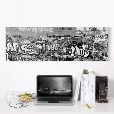 Leinwandbild Schwarz-Weiß - Graffiti Art - Panoramabild Quer
