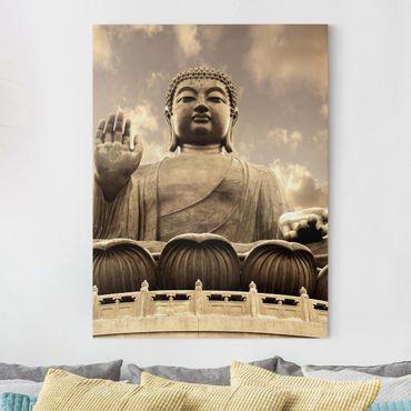 Leinwandbild - Großer Buddha Sepia - Hoch 3:4