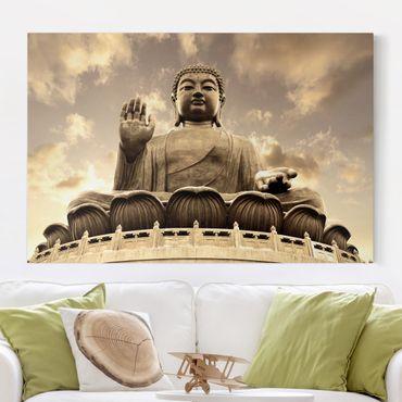 Leinwandbild - Großer Buddha Sepia - Quer 3:2