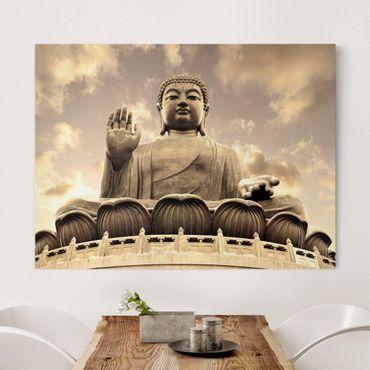 Leinwandbild - Großer Buddha Sepia - Quer 4:3