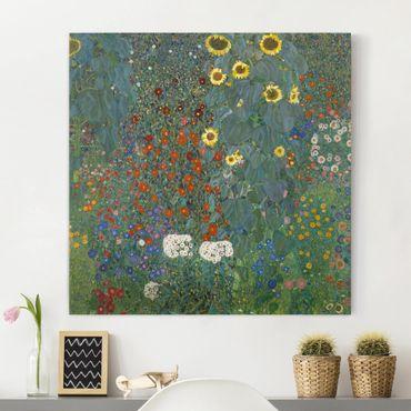 Leinwandbild Gustav Klimt - Kunstdruck Bauerngarten mit Sonnenblumen - Quadrat 1:1 -Jugendstil