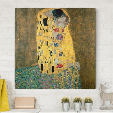Leinwandbild Gustav Klimt - Kunstdruck Der Kuss - Quadrat 1:1 -Jugendstil