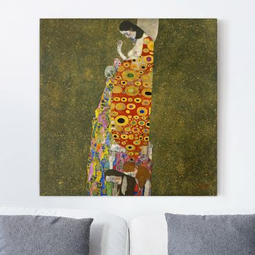 Leinwandbild Gustav Klimt - Kunstdruck Die Hoffnung II - Quadrat 1:1 -Jugendstil