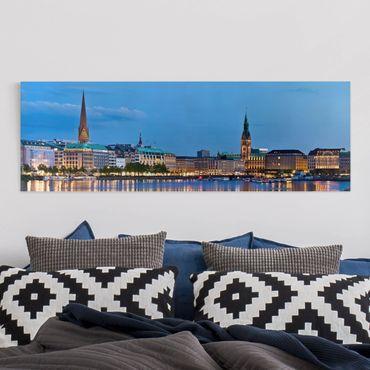 Leinwandbild - Hamburg Skyline - Panorama Quer