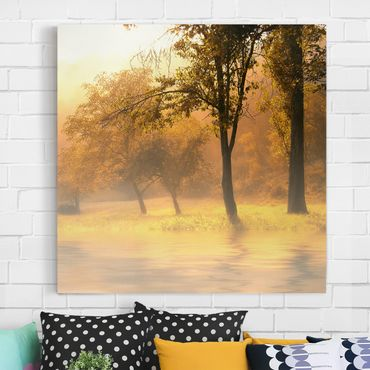 Leinwandbild - Herbstmorgen - Quadrat 1:1