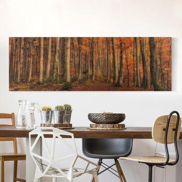 Leinwandbild - Herbstspaziergang - Panorama Quer
