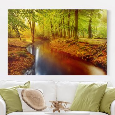 Leinwandbild Herbstwald - Quer 3:2, Grün, Gelb, Braun, Rot