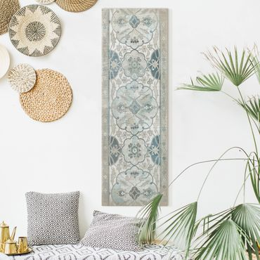 Leinwandbild - Holzpaneel Persisch Vintage II - Panorama Hochformat 3:1