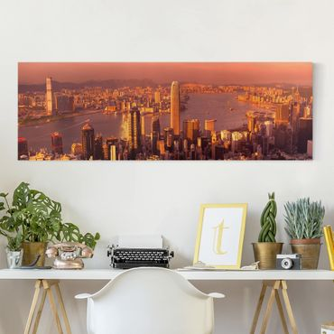 Leinwandbild - Hongkong Sunset - Panorama Quer
