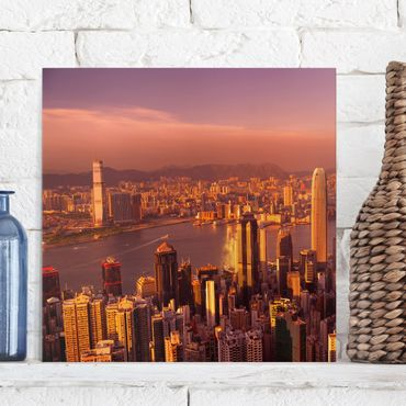 Leinwandbild - Hongkong Sunset - Quadrat 1:1