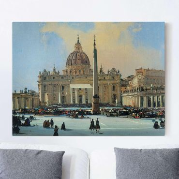 Leinwandbild - Ippolito Caffi - Papstsegnung auf dem Petersplatz in Rom - Quer 4:3