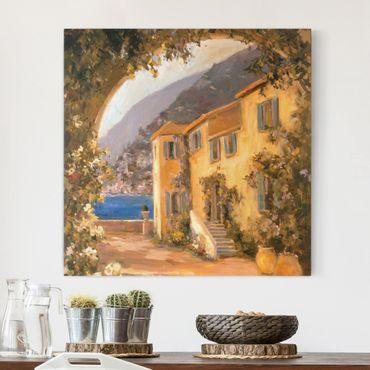 Leinwandbild - Italienische Landschaft - Blumenbogen - Quadrat 1:1