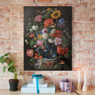 Leinwandbild - Jan Davidsz de Heem - Tulpen, eine Sonnenblume, eine Iris und andere Blumen in einer Glasvase auf dem Marmorsockel einer Säule - Hoch 3:4
