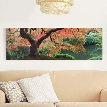 Leinwandbild - Japanischer Garten - Panorama Quer