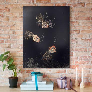 Leinwandbild - Jean Dunand - Unterwasser-Szene mit rotem und goldenem Fisch, Luftblasen ausstoßend - Hoch 3:4