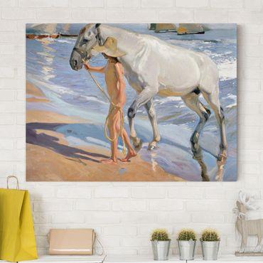 Leinwandbild Joaquin Sorolla - Kunstwerk Das Bad des Pferdes - Quer 4:3