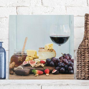 Leinwandbild - Käse und Wein - Quadrat 1:1