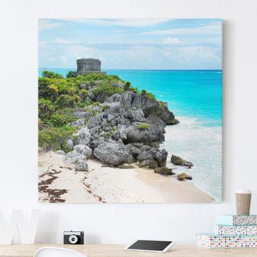 Leinwandbild - Karibikküste Tulum Ruinen - Quadrat 1:1