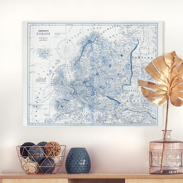 Leinwandbild - Karte in Blautönen - Europa - Querformat 3:4