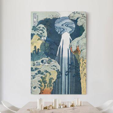 Leinwandbild - Katsushika Hokusai - Der Wasserfall von Amida an der Kiso Straße - Hoch 2:3