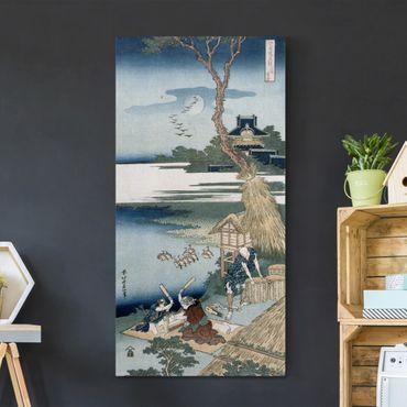 Leinwandbild - Katsushika Hokusai - Eine Bauernfamilie schlägt im Mondlicht die Wäsche - Hoch 1:2